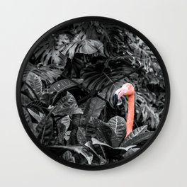 Pink Flamingo Poking His head Above the Leaves Wall Clock