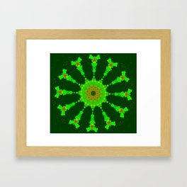 Lovely Healing Mandalas in Brilliant Colors: Hunter Green, Bright Green, Red, and Yellow Framed Art Print