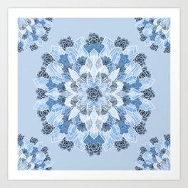 Crystals Succulents Mandala BLUE Art Print