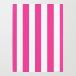 Rose bonbon pink - solid color - white vertical lines pattern Poster
