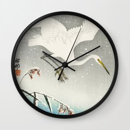 Egrets Descending from the sky - Vintage Japanese Woodblock Print Art Wall Clock