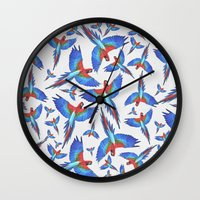 parrot Wall Clocks featuring Parrot. by Eleaxart