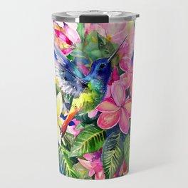 Hummingbird and Plumeria Florwers Tropical bright colored foliage floral Hawaiian Flowers Travel Mug