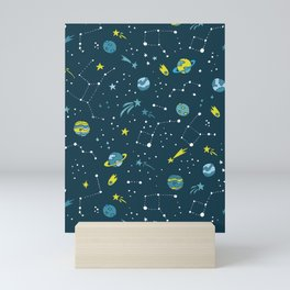 Meteor Showers in Blue + Green Mini Art Print