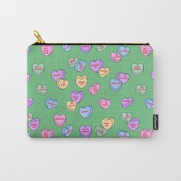 Feminist Valentine Candy Hearts in Green, Kween Carry-All Pouch