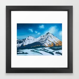 Snowy volcano Framed Art Print