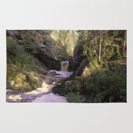The stream in mountains Rug
