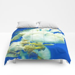 Blue Jellyfish Under the Sea Underwater Photography Saturated Pop Art Color Wall Art Comforters