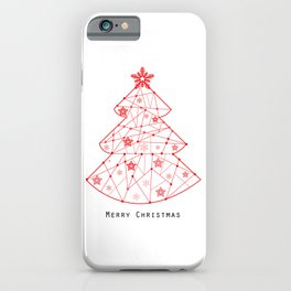 Happy new year tree made of red lines iPhone Case