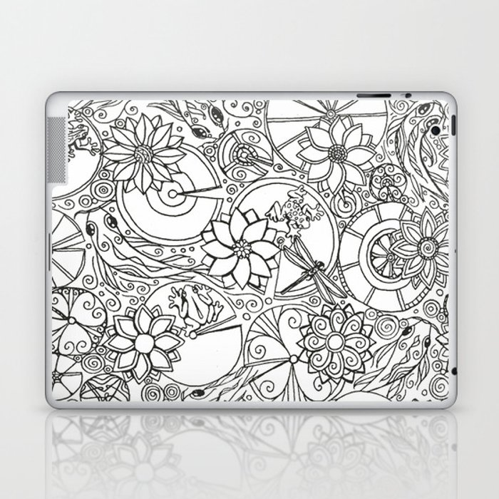 Koi Pond Coloring Page Laptop & iPad Skin by alohalani