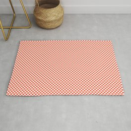 Small Living Coral Color of the Year in Coral Orange and White Checkerboard Rug