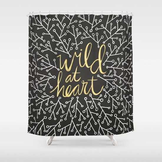 Wild At Heart White And Gold On Black Shower Curtain By Cat Coquillette S