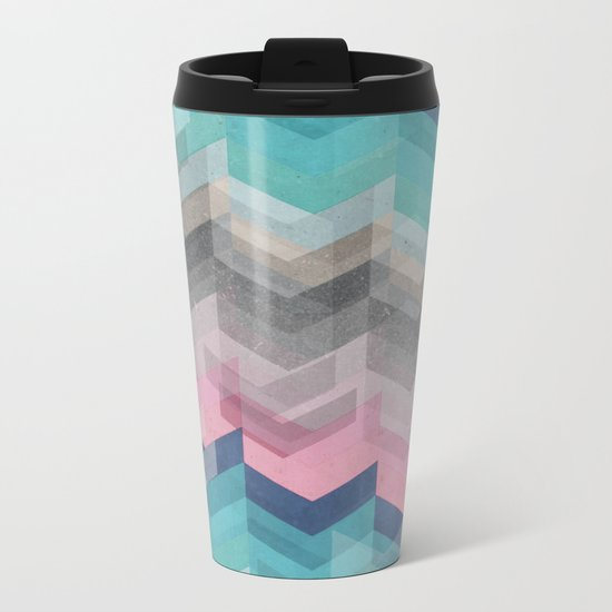 Colored Chevron  Metal Travel Mug