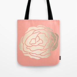 Rose White Gold Sands on Salmon Pink Tote Bag