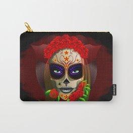 Skull Girl Dia de los Muertos Portrait Carry-All Pouch