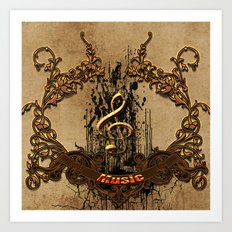 Music, decorative clef  Art Print