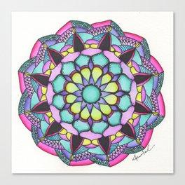 Mandala #13 - Black/Magenta Canvas Print