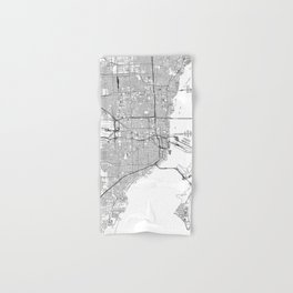 Miami White Map Hand & Bath Towel