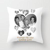 golden girls Throw Pillows featuring The Golden Girls by BeeJL