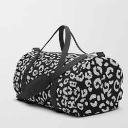 Modern trendy silver glitter hand painted leopard pattern on black Duffle Bag