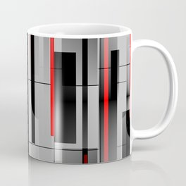 Off the Grid - Abstract - Gray, Black, Red Coffee Mug