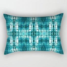 Aqua Shibori Plaid Rectangular Pillow