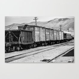 Vintage train cars in rail yard in Black & White Canvas Print