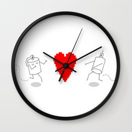 GIRL AND BOY ROBOT LOVE Wall Clock