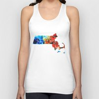 patriots Tank Tops featuring Massachusetts - Map Counties By Sharon Cummings by Sharon Cummings
