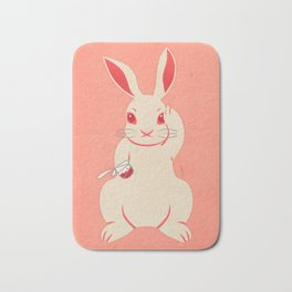 Not so lucky white rabbit Bath Mat