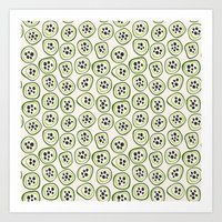 kiwi Art Prints featuring Kiwi by Valendji