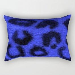 Spotted Leopard Print Blue Rectangular Pillow