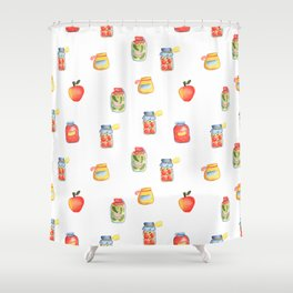 Autumn Seasonal Cooking Pattern With Honey, Jam and Preserves in Glass Jar Shower Curtain