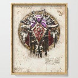Horde crest sigil symbol wow da vinci style artwork Serving Tray