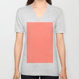 Fusion Coral Solid Color Block Unisex V-Neck