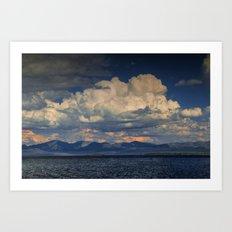 Billowing Clouds over Yellowstone Lake Art Print