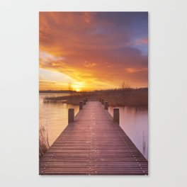 II - Boardwalk over water at sunrise, near Amsterdam The Netherlands Canvas Print