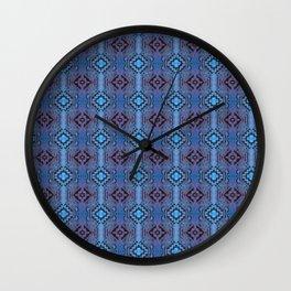 Blue Southwestern Style Doodle Pattern Wall Clock