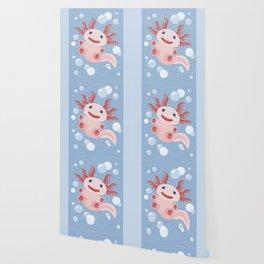 Cute Axolotl and The Bubbles Wallpaper