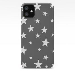 Hand-Drawn Stars (White & Grey Pattern) iPhone Case