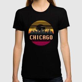Chicago Vintage Sunset Skyline Retro Aestheic Style design T-shirt