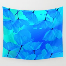 Poppies In Aqua Color #decor #society6 #buyart Wall Tapestry