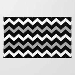 Black White & Grey Chevron Print Pattern Rug