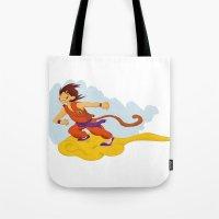 dragonball Tote Bags featuring DragonBall: Goku and Nimbus by Michelle Rakar