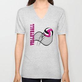 Volleyball Sport Game - Net - Hot Pink Unisex V-Neck