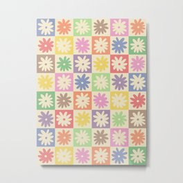 Colorful Flower Checkered Pattern Metal Print