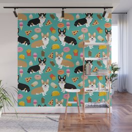 Welsh Corgi junk food fast food tacos french fries pizza burrito ice cream donuts Wall Mural