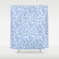 aviation Shower Curtains featuring Schoolyard Aviation White by Dianne Delahunty