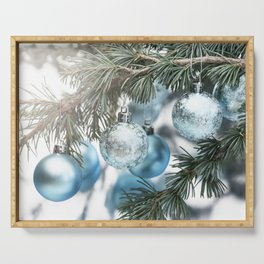 Blue Christmas baubles on tree Serving Tray