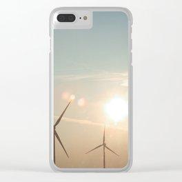 Wind turbine sunset Clear iPhone Case